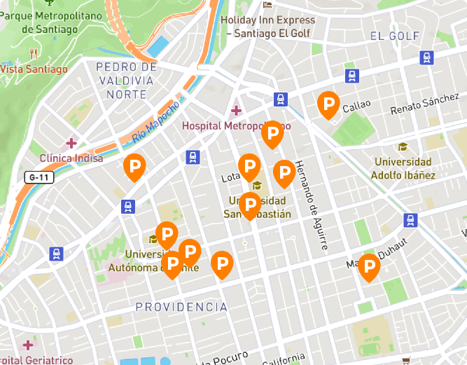 mapa parking app